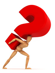 man carrying question mark image